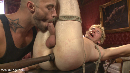 Gay BDSM Edged so intensely that this tall stud shoots twice