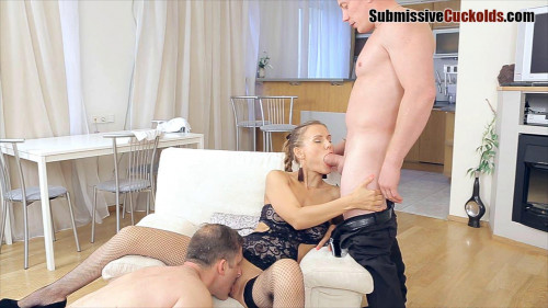 Femdom and Strapon Husband watching how desirable change, but he wants