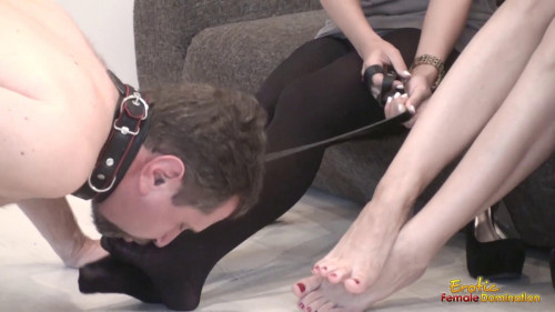 Femdom and Strapon Sub Male Licks Loads Of Shoes And Toes