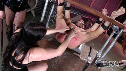 Femdom and Strapon Spread Wide and Beaten Red