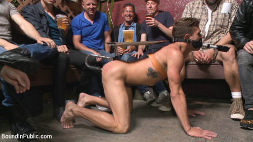 Gay BDSM Go-go dancer serves his bar with mouth and ass for SF Pride