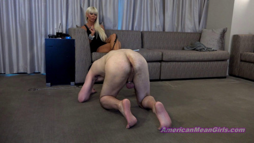 Femdom and Strapon Queen Kasey-Groveling At The Queens Feet