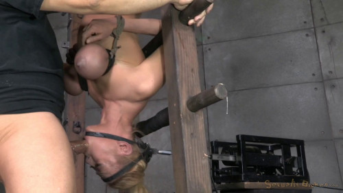 bdsm Blond Bimbo Inverted With Automatic Cocksucking Machine Brutal Deepthroat