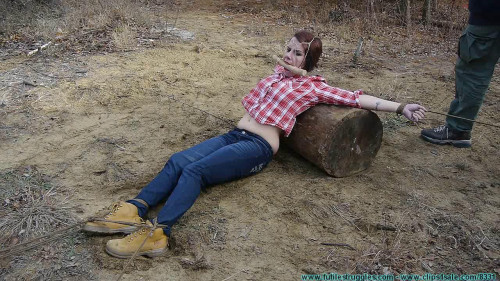 bdsm Staked Out Spread Eagle Back Breacker In The Cold For The Firewood Thief