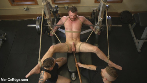 Gay BDSM Ginger Muscle God Tormented and Edged in Bondage