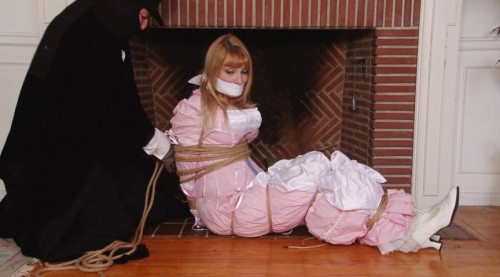 bdsm Bound and Gagged - Pink Damsel in the Fireplace - with Music - Lorelei and Jon Woods