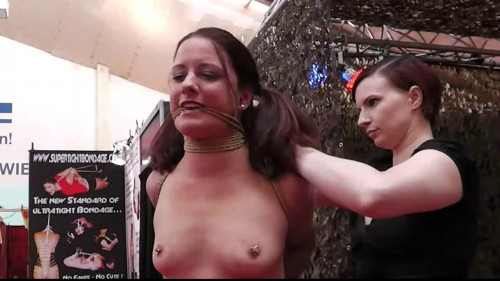 bdsm Hard bondage, predicament and walk for beautiful model