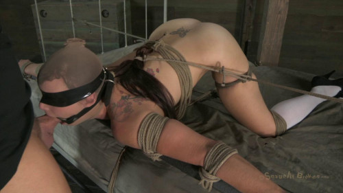 bdsm Bella Rossis mouth is gagged open, rough skull fucking, dicked down from behind