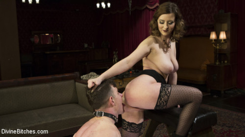 Femdom and Strapon Cherry Torns Tea Service and Slave Punishment