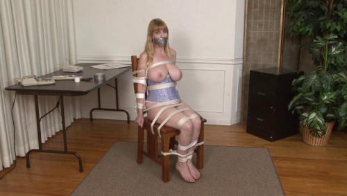 bdsm Bound and Gagged - Rope and Tape Chair Bondage for Lorelei - by Jon Woods