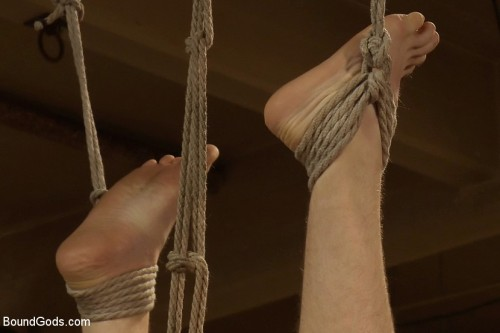 18 year old slave boy endures the most intense ball stretching on BG.