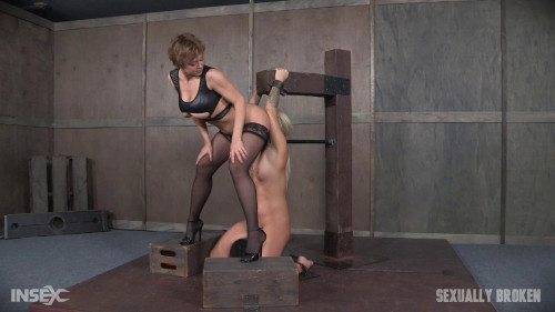 bdsm Madelyn Monroe bound to sybian and used by couple