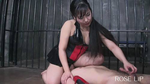 Femdom and Strapon Luxury handjob ejaculation by the Queen with face sitting