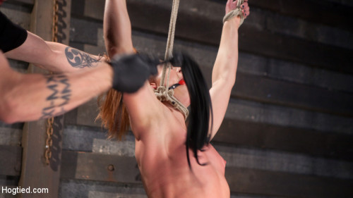 Fiery Red Head in Bondage, Tormented and Cumming like a Whore BDSM