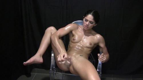 After a workout, muscular Aprilia fuck yourself Masturbation