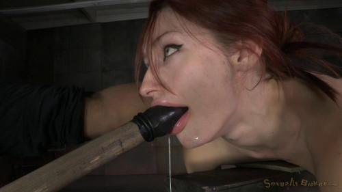 Redheaded Violet Monroe strictly shackled and utterly destroyed by hard cock! Brutal deepthroat! BDSM