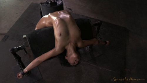 Exotic newbie Mia Austin tightly bound in back arch BDSM