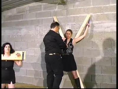 Two slave girls in brutal beating BDSM