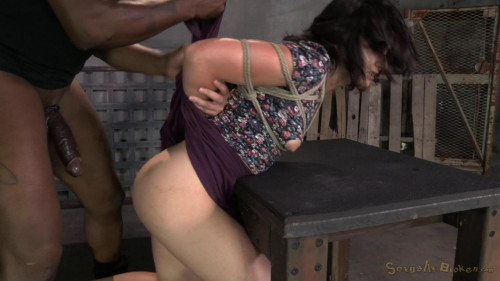 DOWNLOAD from FILESMONSTER: bdsm Brunette newbie Amy Faye bound and fucked into subspace by big dick, gagging deepthroat on BBC!
