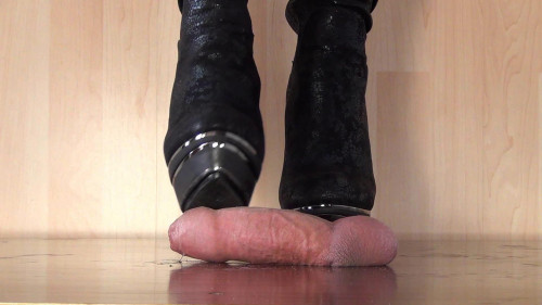 Your dick under my heel Femdom and Strapon