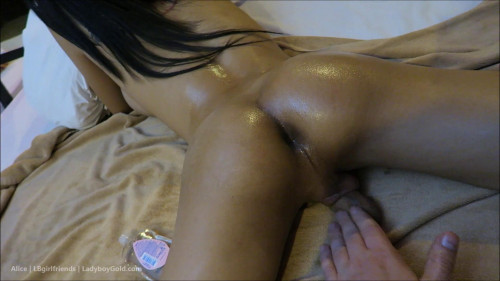 Tiny Oiled Buns Bareback SheMale