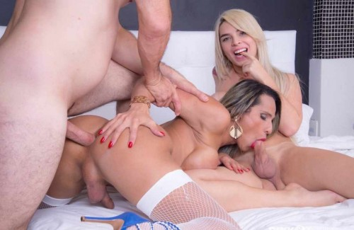 Amazing Shemales In Hard Threesome Anal