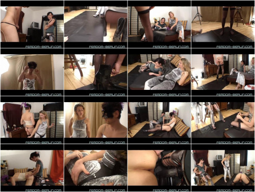 Here you can see how the ladies at the femdom party treats her slaves Femdom and Strapon