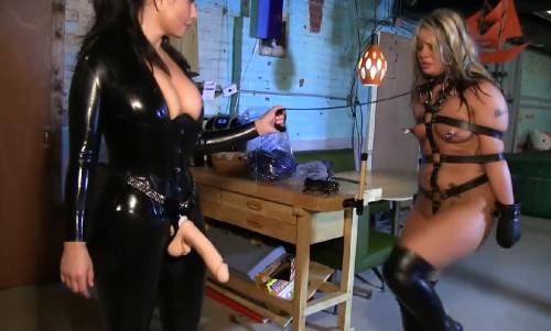 Hard bondage, domination, hogtie and torture for a hot blonde