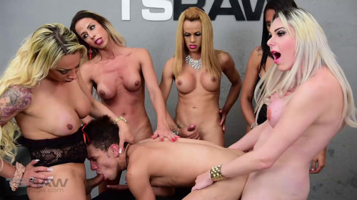 Walkiria Drumond Guy Gangbanged by Five TS Stars (2016)