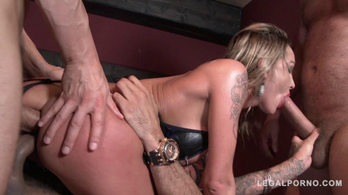 Chantelle Fox dominated by three guys and double anal (2016)