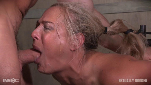Angel Allwood – Blond MILF is hogtied and face fucked into oblivian