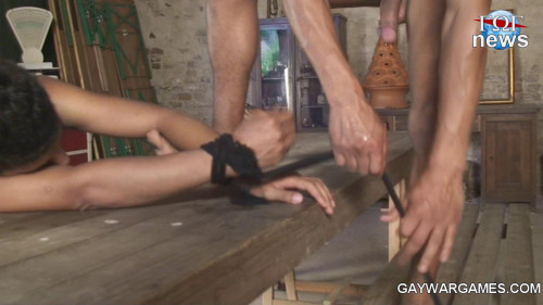 DOWNLOAD from FILESMONSTER: gay bdsm Bent over the table his hands are tied well