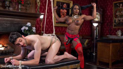 Hot Muscular Domme Annihilates Wimpy Man Servant! Femdom and Strapon