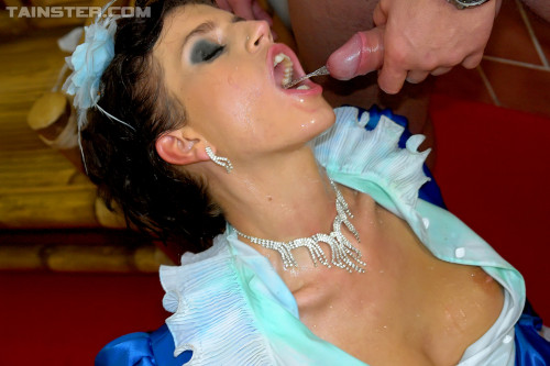 Beautiful Princess In Blue Outfit Is Drenched In Piss