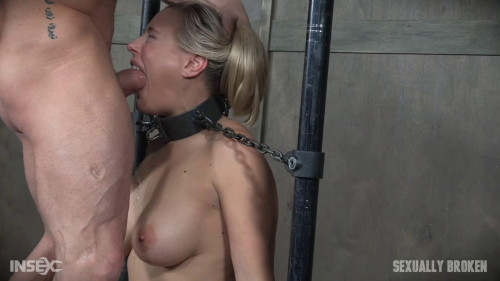Angel Allwood is neck bound on a Sybian and throat fucked while violently cumming over and over!