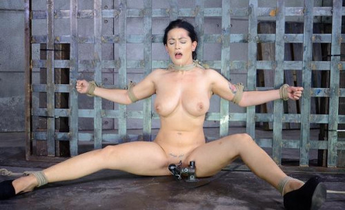 Newbie Katrina Jade with natural DDD breasts on her 1st bondage shoot is facefucked