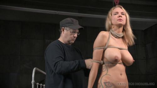 Rain DeGrey tightly tied, brutal deepthroat on BBC, massive multiple orgasms! BDSM