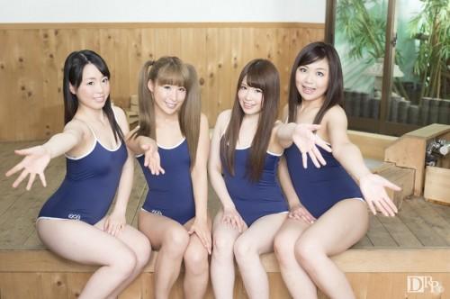 Yuka Uehara, Hana Saki, Natsukawa Meg, Hotsuki Natsume / 夏だ!JK制服温泉素人娘の大乱交 後編