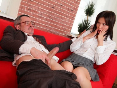 This tricky old teacher gets off on seeing two of his students make out Old and Young