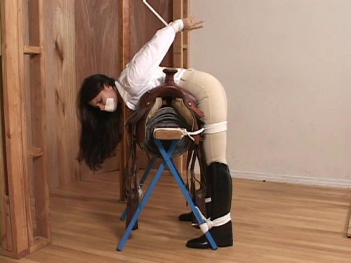 Five hot horsewomen are securely gagged and stringently tethered in their BDSM