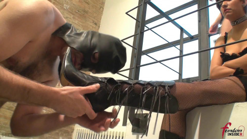 Miss Dolce & Mistress Soraya - Four Boots For One Tongue Femdom and Strapon
