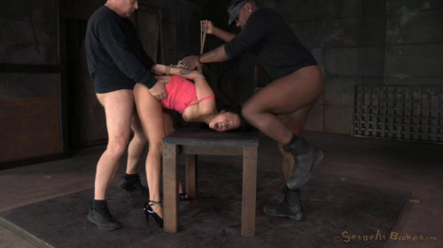 Bouond newbie Mia Austin roughly fucked in strict restraints with brutal messy deepthroat on BBC! BDSM