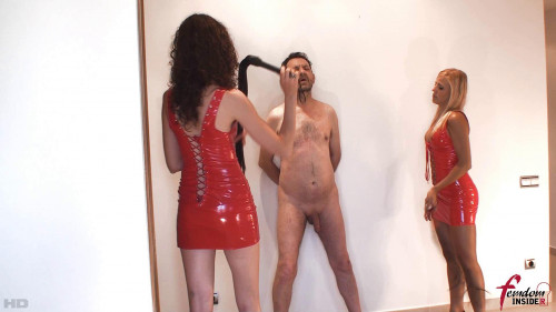 Lady Mary & Miss Lesly - Double Whipping In Red Femdom and Strapon