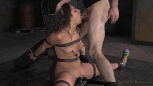 Flexible cock slut Abella Danger bound multiple orgasms and drooling brutal deepthroat on hard cock! BDSM