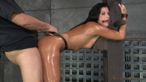 Stunning MILF India Summer belted down to a post and bred BDSM