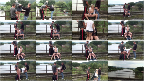 DOWNLOAD from FILESMONSTER: public sex Blonde and two guys on the bridge at the river