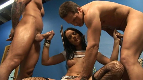 Amazing babe takes on two dicks Femdom and Strapon