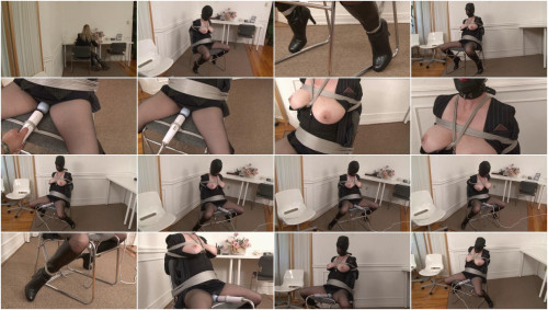 Bound and Gagged – Office Slave in Hood and Secretary Suit has Bondage Orgasm