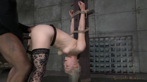 Ella Nova lashed to the breeding post and used by 2 big cocks, vibrated and creampied! BDSM