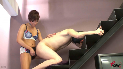Miss Dolce - Ass Fucked Hard On The Stairs Femdom and Strapon